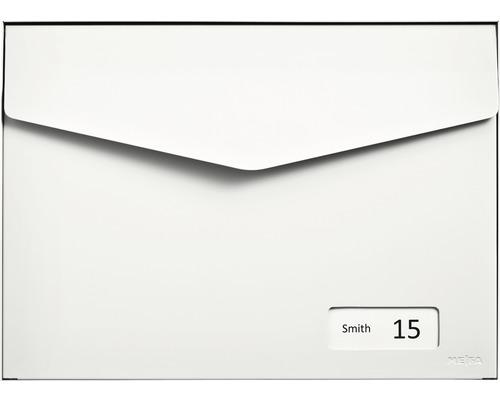 MEFA Briefkasten Stahl pulverbeschichtet BxHxT 430x312x178 mm Letter 113 Reinweiß RAL 9010 semimatt mit Namensschild + Klappe