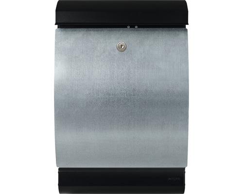 MEFA Briefkasten Stahl pulverbeschichtet/verzinkt BxHxT 323/492/194 mm Penguin 303 verzinkt/schwarz mit Zeitungsfach