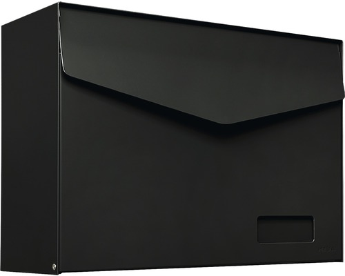 MEFA Briefkasten Stahl pulverbeschichtet BxHxT 430x312x178 mm mm Letter 113 Tiefschwarz RAL 9005 semimatt mit Namensschild + Klappe