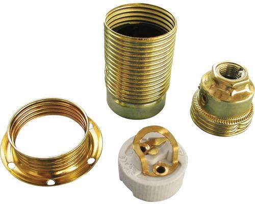 Lampenfassung E14 Metall mit Außengewinde verchromt
