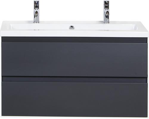Badmöbel-Set Evora 100 cm mit Keramikwaschtisch 2 Hahnlöcher Anthrazit matt und