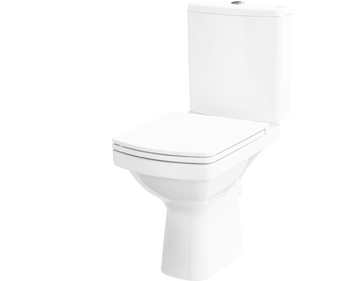 WC-Kombination Easy spülrandlos Abgang waagerecht weiß mit WC-Sitz