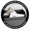 MEFA Briefkasten Stahl pulverbeschichtet BxHxT 352/450/160 mm Pearl 872 Tiefschwarz RAL 9005 Struktur und Kupfer mit integriertem Zeitungsfach