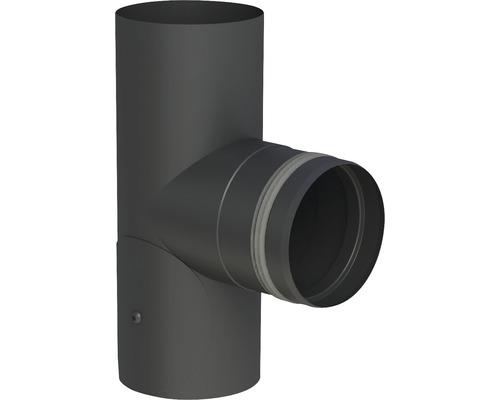 Pellet-Line T-Stück m. Einzug mit Revision Ø 80mm schwarz