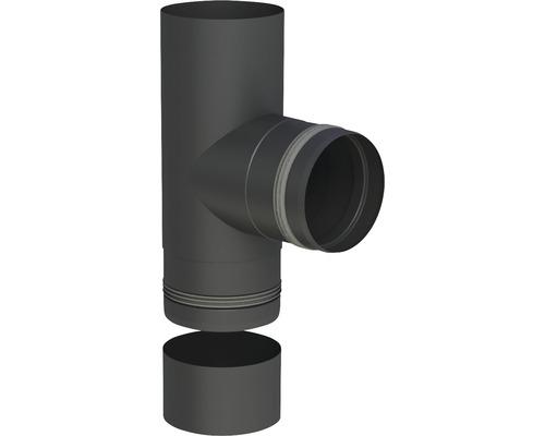 Pellet-Line T-Stück m. Einzug u. Kondensatschale Ø 80mm schwarz