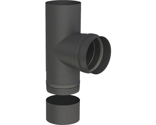 Pellet-Line T-Stück m. Muffe u. Kondensatschale Ø 80mm schwarz
