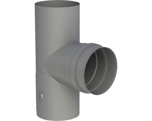 Pellet-Line T-Stück m. Muffe mit Revision Ø 80mm grau