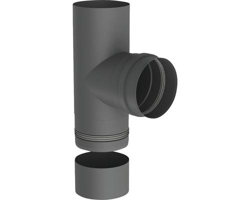 Pellet-Line T-Stück m. Muffe u. Kondensatschale Ø 80mm grau