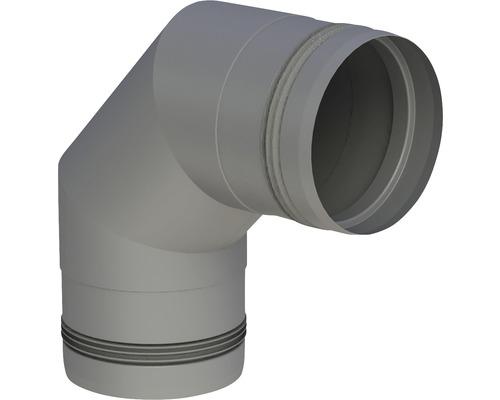 Pellet-Line Winkel 90° starr mit Muffe Ø 80mm grau