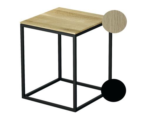 BETTE Hocker mit Echtholzauflage 35x35 cm schwarz/Holz Eiche Creme Q020-815FH812