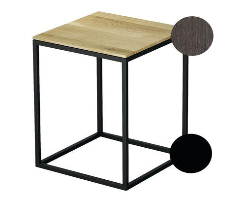 BETTE Hocker mit Echtholzauflage 35x35 cm schwarz/Holz Eiche Mokka Q020-815FH813