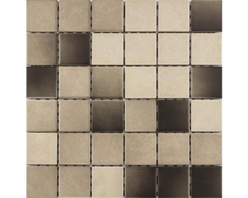 Keramikmosaik für die Dusche R10B creme/braun glasiert 30x30 cm