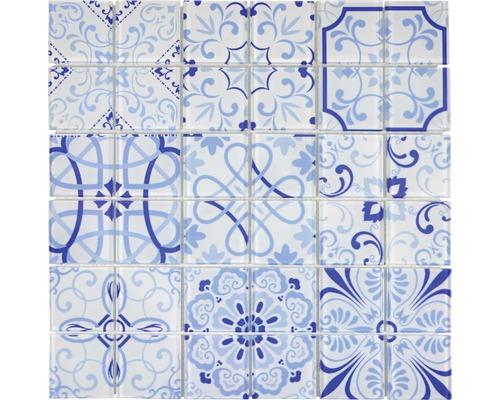Glasmosaik CM Malta Crystal weiß/blau 30x30 cm