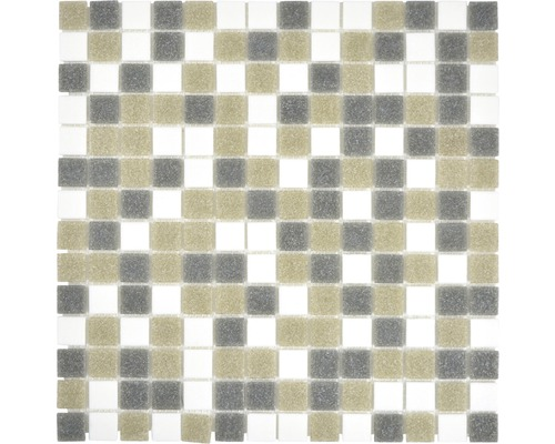 Glasmosaik GMA121 mix weiß/grau/braun 30,5x30,5 cm