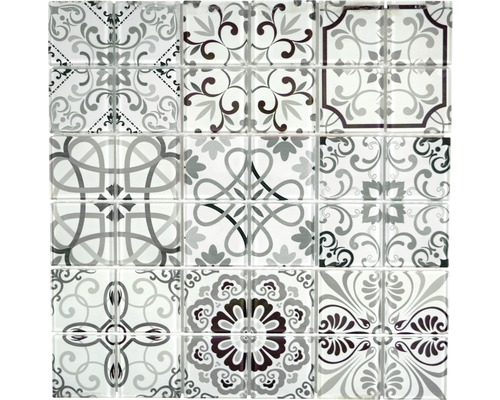 Glasmosaik CM Germany Crystal schwarz/grau 30x30 cm