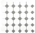 Karamikmosaik OCTAG469 weiß matt/grau glänzend 29,5x29,5 cm