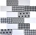 Karamikmosaik Misto weiß/schwarz glänzend 28,3x29,1 cm