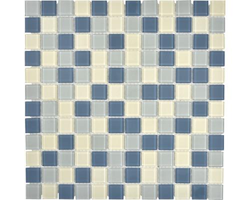 Glasmosaik CM4SE1M Crystal weiß/silber/grau 30x30 cm