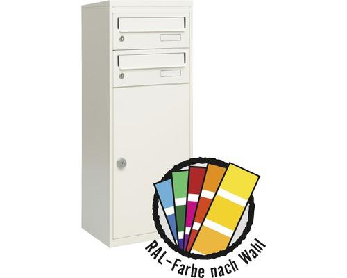 MEFA Briefkasten Stahl pulverbeschichtet BxHxT 511/1091/388 mm Balsa 4832M in RAL Sonderfarbe nach Wunsch 2-fach mit Namensschild