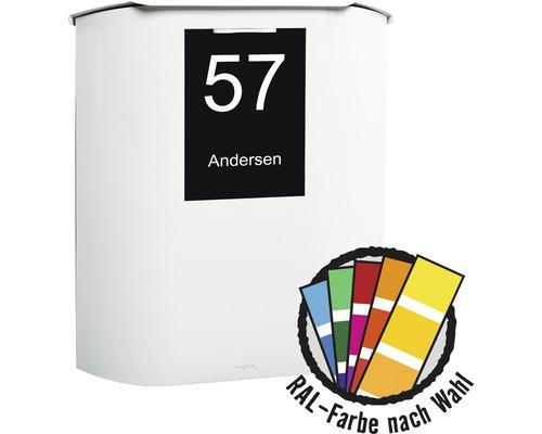 MEFA Briefkasten Stahl pulverbeschichtet BxHxT 460/538/164 mm Ufo 650 in RAL Sonderfarbe nach Wunsch Entnahme vorne mit Namensschild