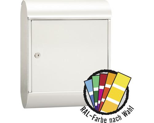 MEFA Briefkasten Stahl pulverbeschichtet BxHxT 340/430/150 mm MEFA Topaz 844 in RAL Sonderfarbe nach Wunsch mit Zeitungsrohr Entnahme vorne