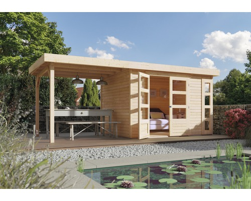 Gartenhaus Karibu Naomi 4 mit seitlichem Anbau 2,40 m 522 x 217 cm natur