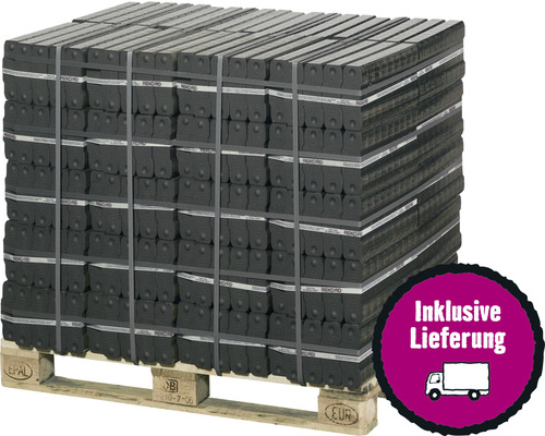 Palette-Braunkohlebrikett REKORD mit 40 x 25 kg Bündeln, gebändert