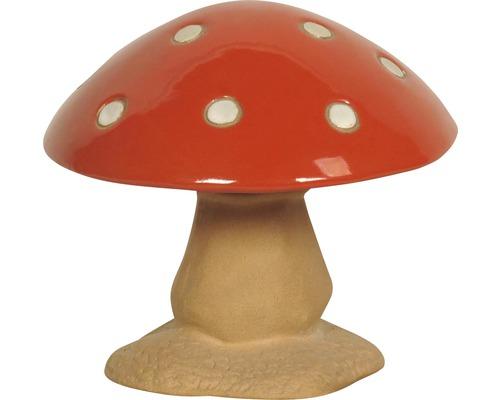 Gartendeko Pilz Lafiora Keramik H 18 cm rot-weiß