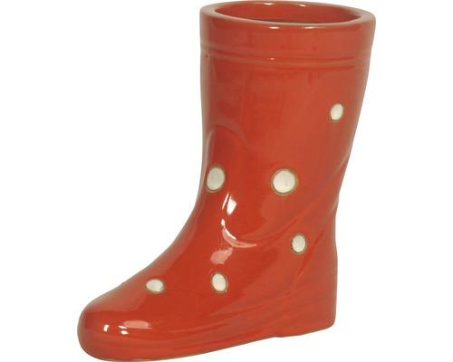 Gartendeko Stiefel rechts Lafiora Keramik H 28 cm rot-weiß
