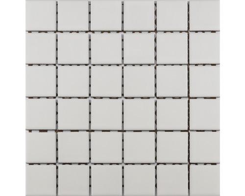 Keramikmosaik KR-600 weiß glasiert 30x30 cm R10B für Dusche
