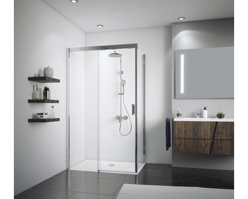 Schiebetür für Seitenwand Breuer Panorama Soft&Silent 120 cm Anschlag links Spiegelglas/Klarglas Profilfarbe chrom
