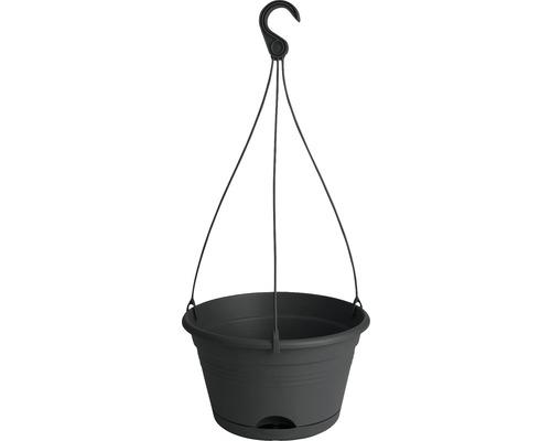 Blumenampel-Set elho Green Basics Kunststoff Ø 28 H 18 cm schwarz inkl. Halterung und Untersetzer