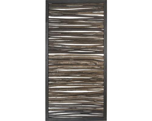 Zaunelement Haselnuss gespalten mit Rahmen 90x180 cm gebeizt