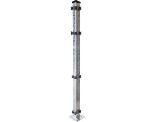 Eckpfosten mit Fußplatte 120x120mm für 1630 mm Zaun, verzinkt