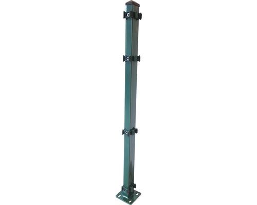 Eckpfosten mit Fußplatte 120x120mm für 2430 mm Zaunhöhe, grün