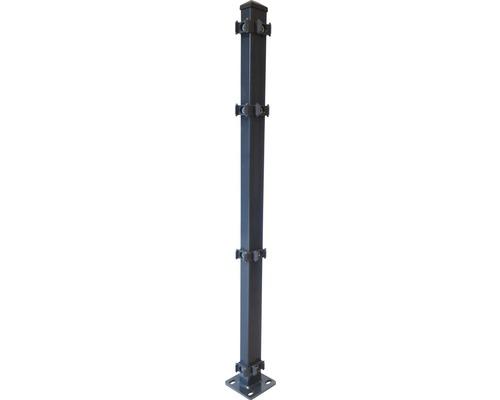 Eckpfosten mit Fußplatte 120x120mm für 630 mm Zaun, anthrazit