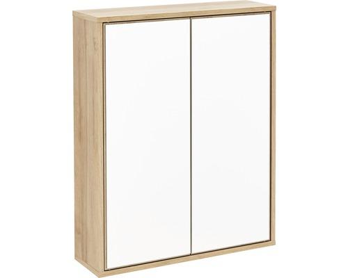 Spiegelschrank FACKELMANN FINN 60x75x18,5 cm Ast-Eiche 2 Türen push