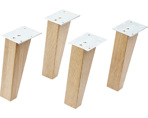 Holzfüße FACKELMANN zur Serie FINN Eiche massiv 4 Stück 15 cm hoch