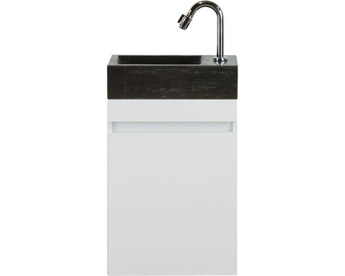 Badmöbel-Set Maxim 40 cm mit Natursteinwaschtisch weiß hochglanz