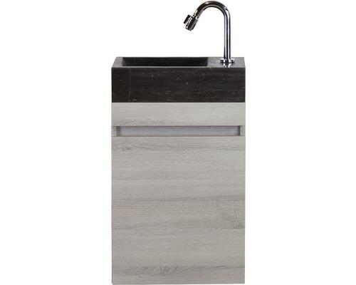 Badmöbel-Set Maxim 40 cm mit Natursteinwaschtisch Esche grau
