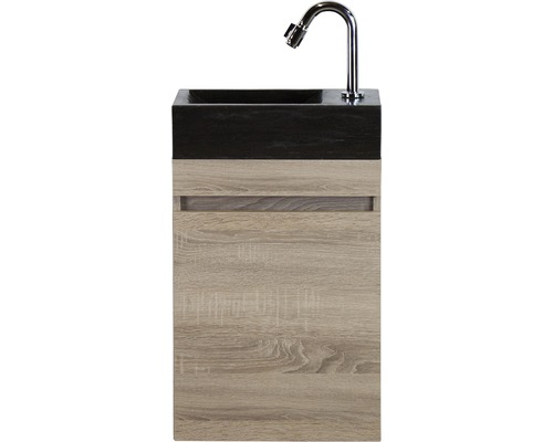 Badmöbel-Set Maxim 40 cm mit Natursteinwaschtisch Eiche grau