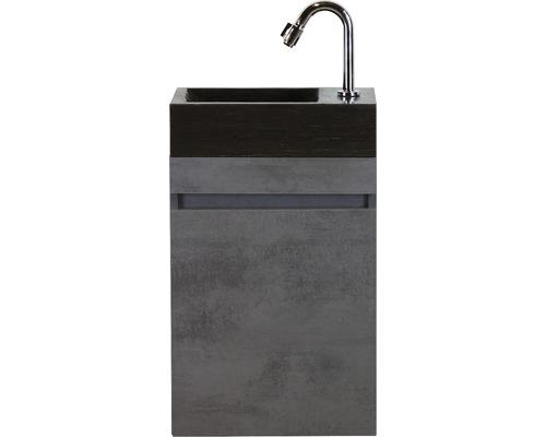 Badmöbel-Set Maxim 40 cm mit Natursteinwaschtisch Beton anthrazit
