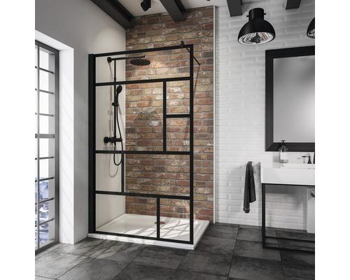 Walk In Duschwand Schulte Alexa Style 2.0 Black Stlye Breite 90 cm Dekor Atelier Profilfarbe schwarz