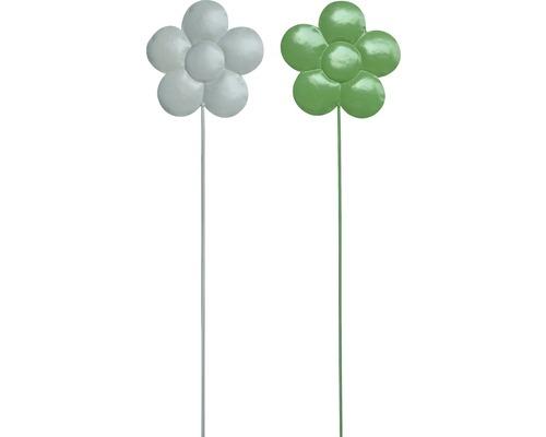 Gartenstecker Blume Metall H 115 cm weiß, grün zufällige Farbauswahl