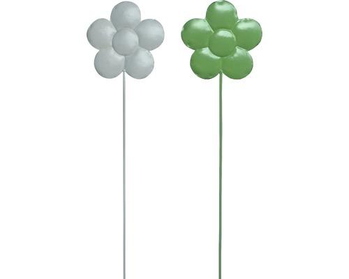 Gartenstecker Blume Metall H 95 cm weiß, grün zufällige Farbauswahl