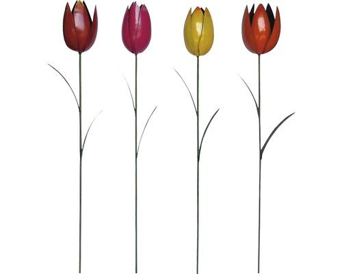 Gartenstecker Tulpe Metall H 90 cm zufällige Farbauswahl