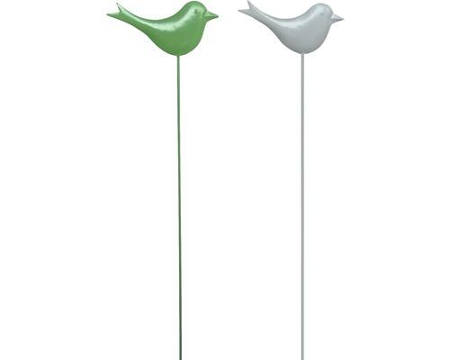 Gartenstecker Vogel Metall H 95 cm weiß, grün zufällige Farbauswahl
