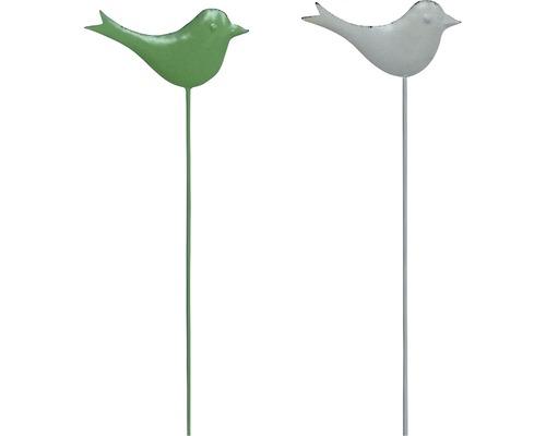 Gartenstecker Vogel Metall H 70 cm weiß, grün zufällige Farbauswahl