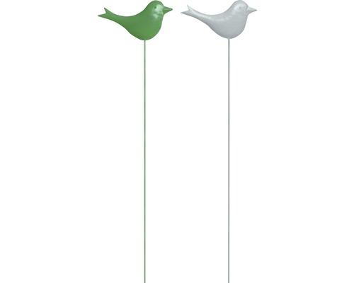 Gartenstecker Vogel Metall H 115 cm weiß, grün zufällige Farbauswahl
