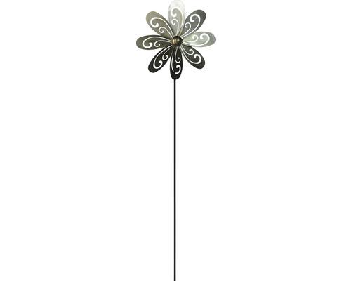 Windrad Blume Metall H 132 cm silber